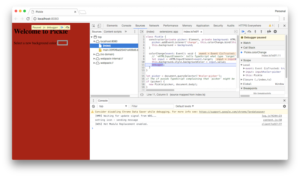 Browser devtools paused mid execute showing original code