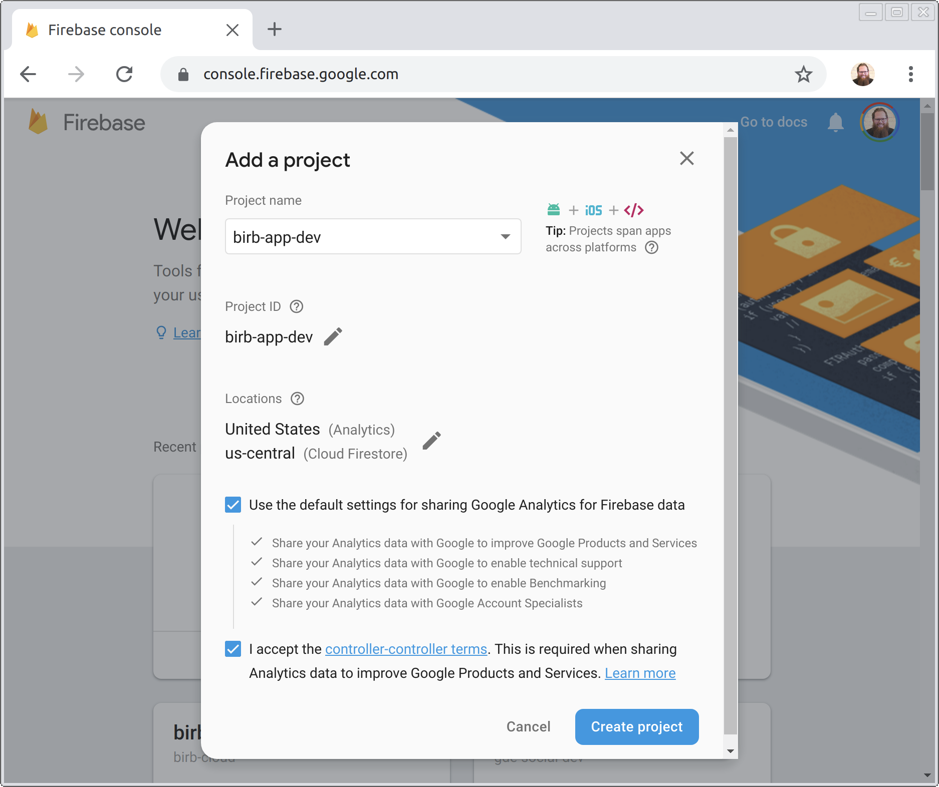 creating Firebase development project