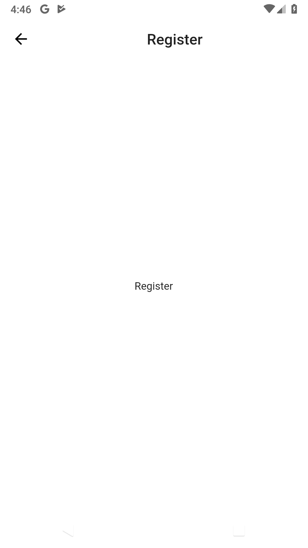 register page with off center title